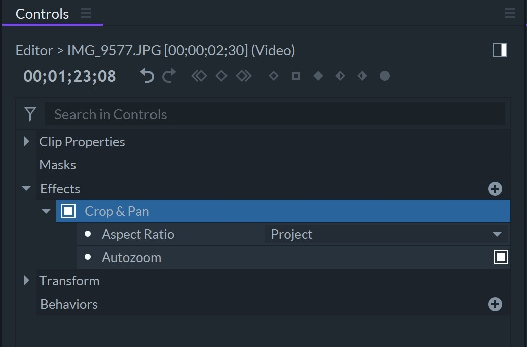 FilmoraPro Crop Controls