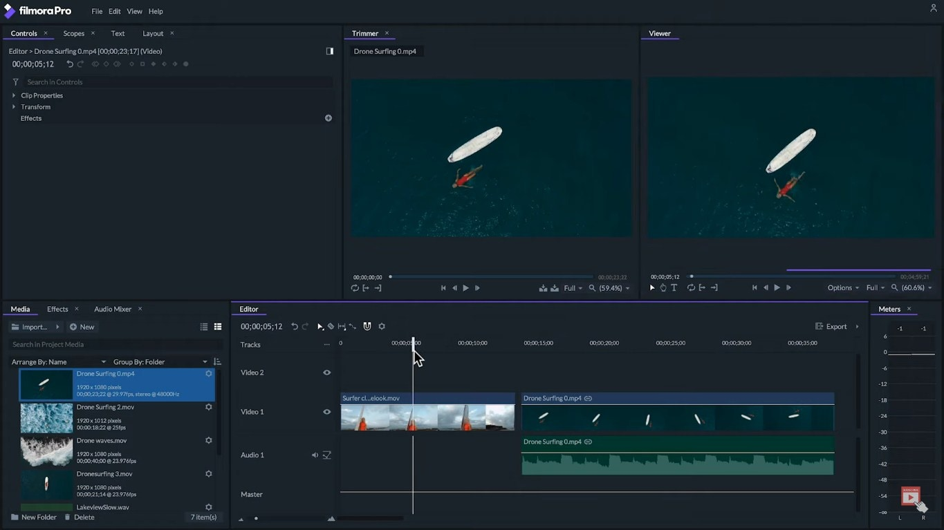 filmorapro start video editing