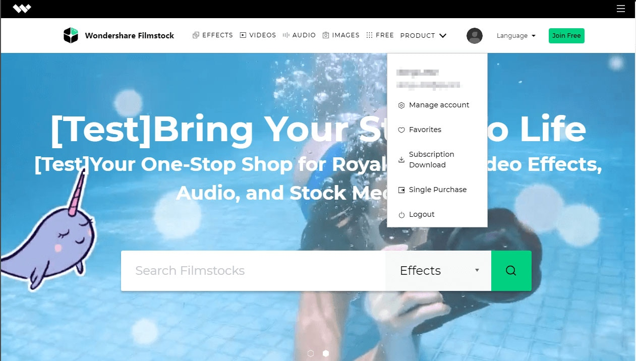Filmstocks account manage