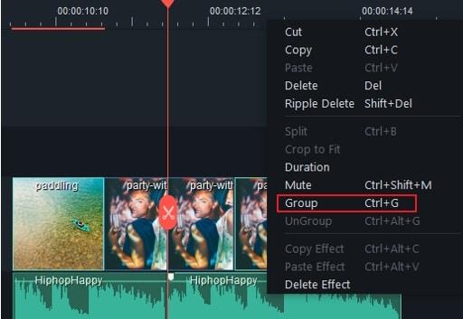 Filmora9 - raggruppa clip