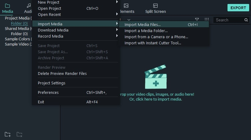 Import media files  in Filmora9