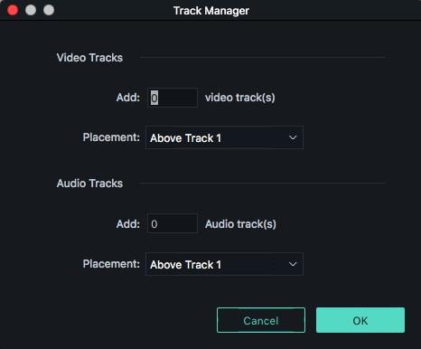 Filmora 9 Mac Track Manager