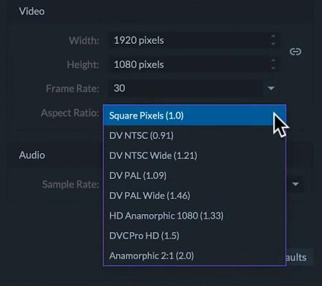 filmorapro aspect ratio