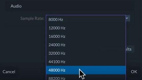 filmorapro sample rate