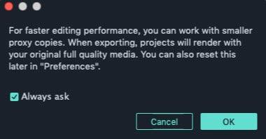 create proxy in Filmora9 for Mac