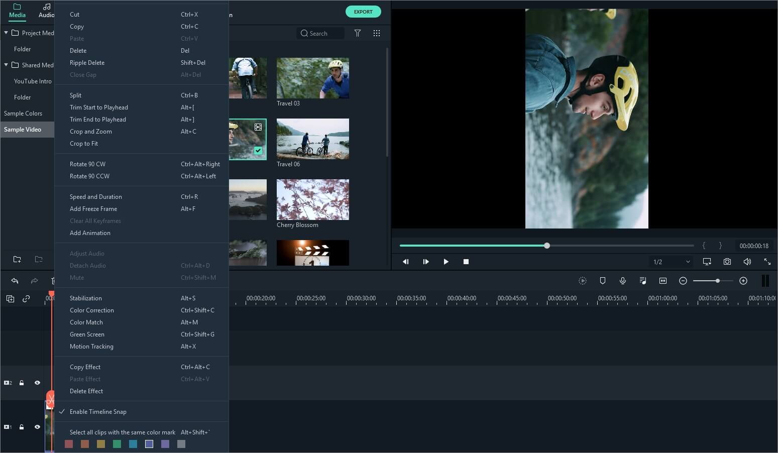 rotate media clips in Filmora 9