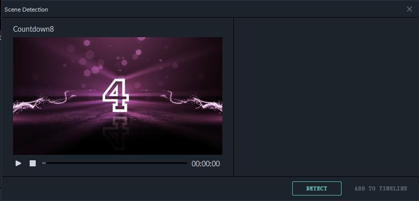 Filmora 9 scene detections interface
