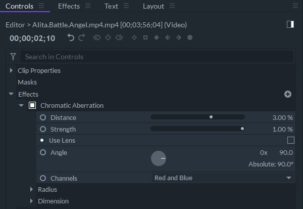 settings chromatic aberration