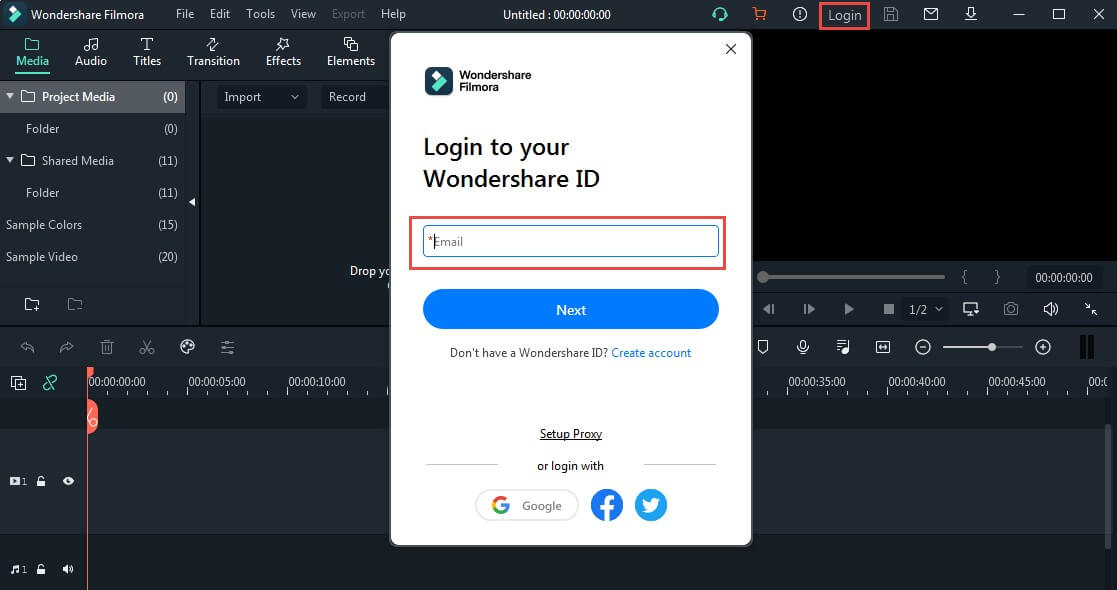 sign in with wondershare id