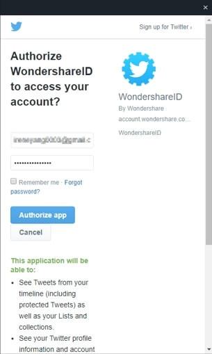 accesso con Twitter per WSID