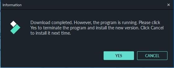 Ventana de finalización de la actualización de Filmora9