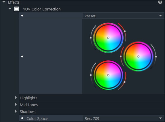 YUV color correction filmorapro