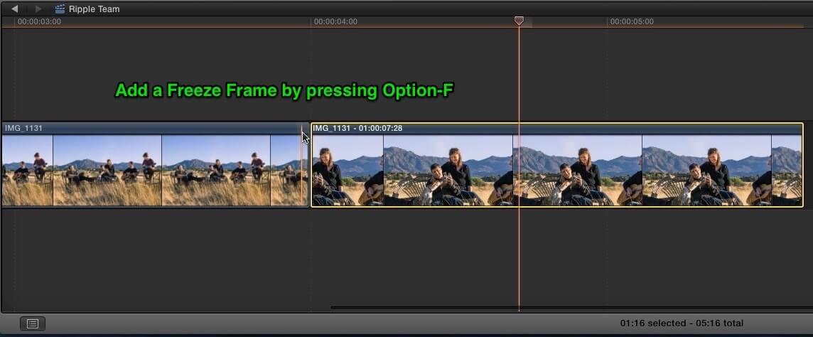 adding a freeze frame