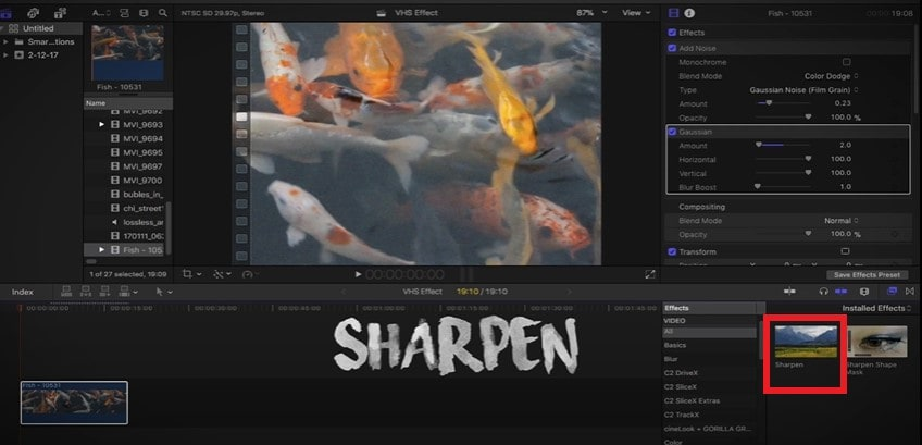 add_sharpness_in_final_cut_pro