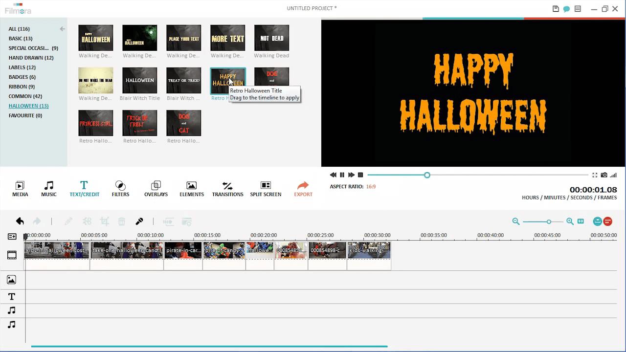 Halloween Süßes oder Sauers Video Titel hinzufügen