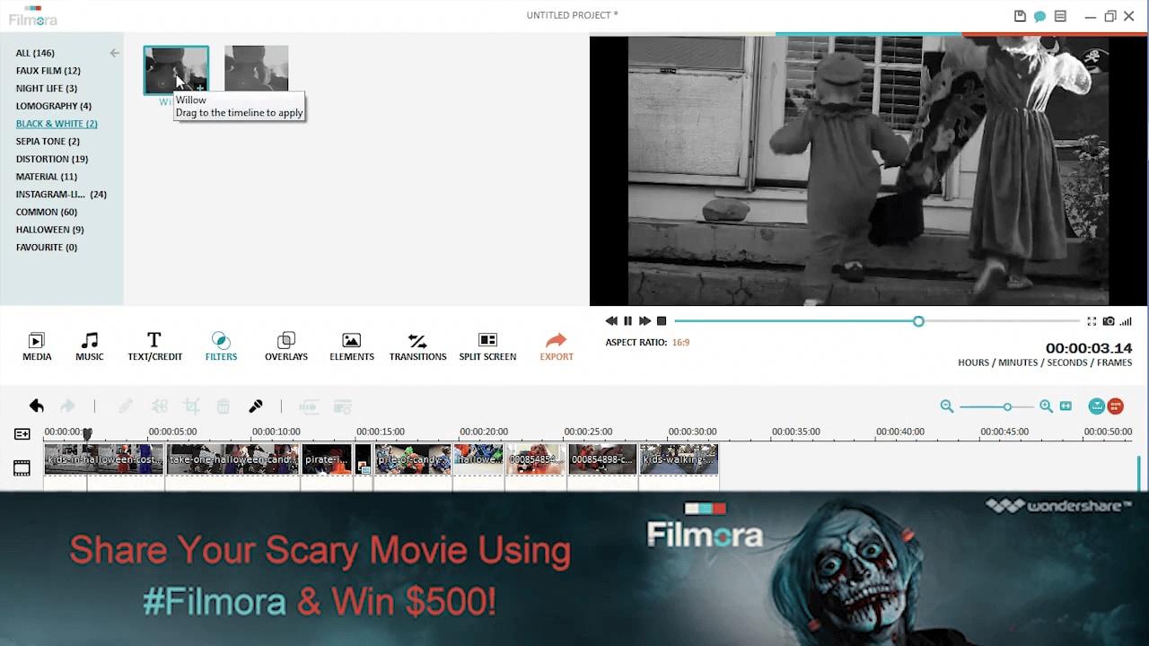 Halloween Süßes oder Sauers Video Overlays Filter hinzufügen