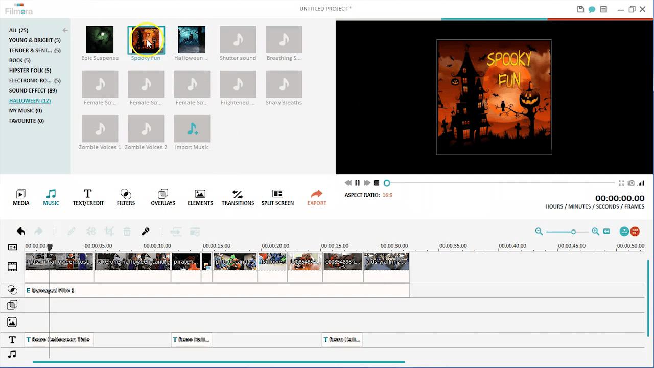 Halloween Süßes oder Saures Video Musik hinzufügen