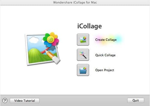 iCollage for Mac start interface