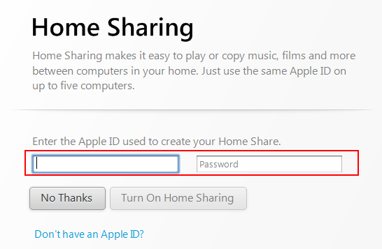 how to turn on home sharing on your apple tv
