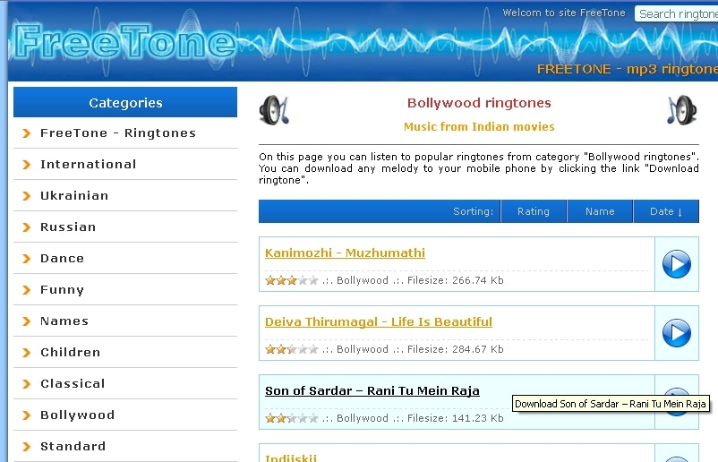 Download Bollywood Ringtones Hindi Ringtones