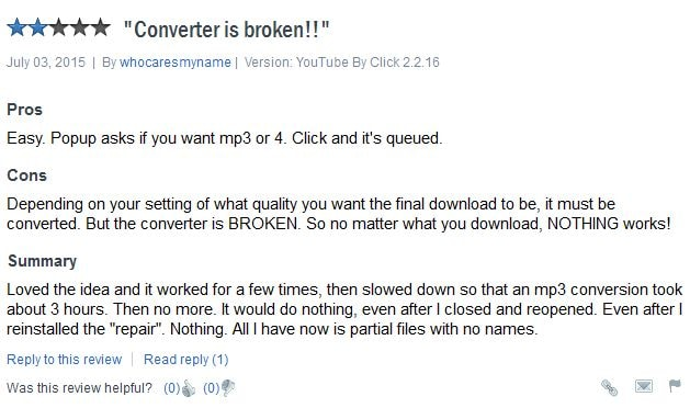 YouTube by click downloader - bad review 3