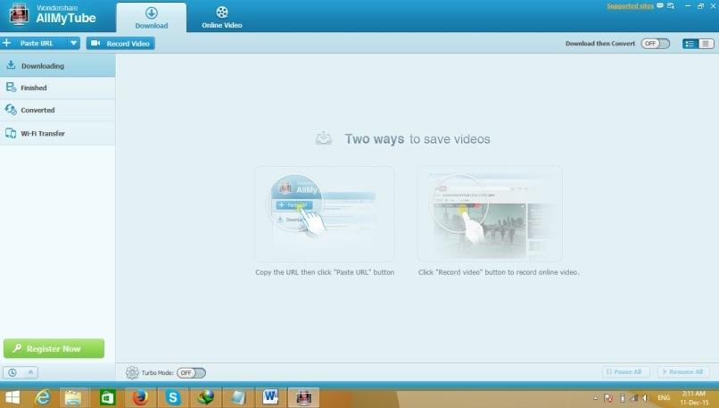 YouTube URL downloader - install allmytube