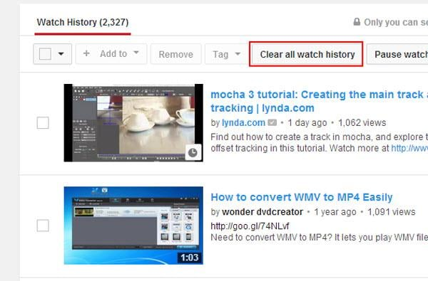 youtube history clear