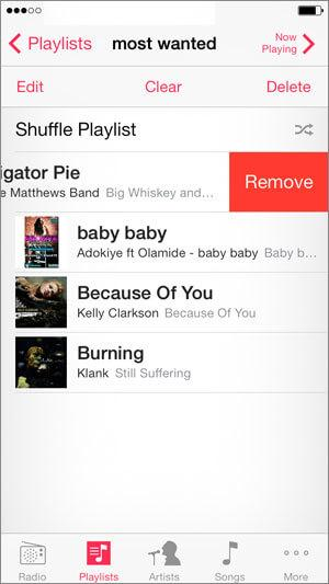 delete playlists on iPhone