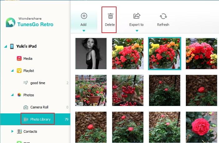 TunesGo Retro - how do i delete a photo album from my ipad