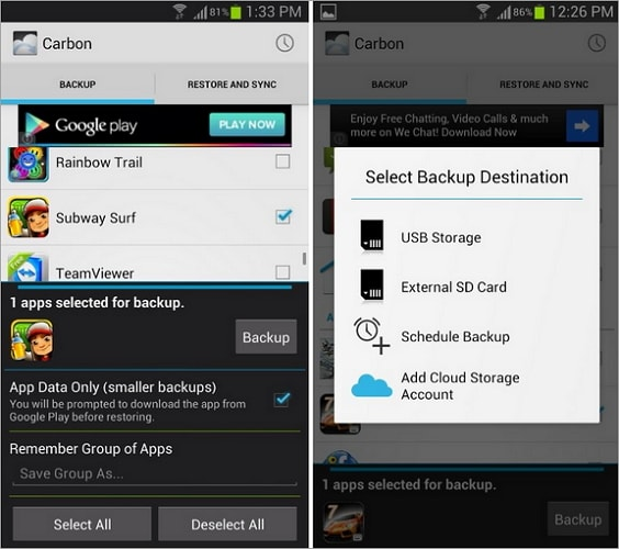 Helium App Sync and Backup Samsung