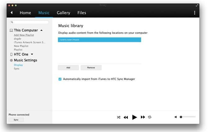 transfer music from itunes to htc one