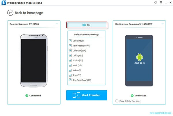 Move contacts, photos, SMS, music, video, apps and call logs from Android to Android with this Android transfer tool