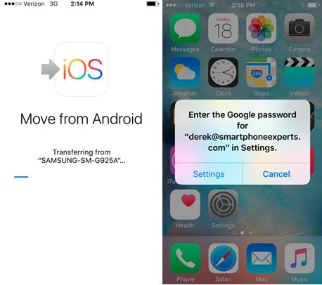 Transfiere contactos desde Android a iPhone