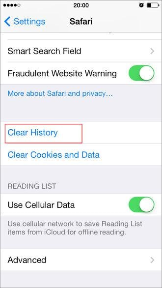 delete safari browsing history on iPhone
