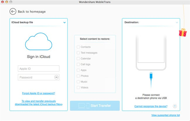 Wondershare MobileTrans for Mac User Guide - iCloud Backup