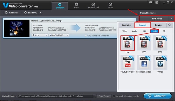 choose target format from the cool mp4 to flv converter