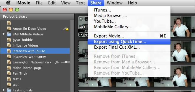 iMovie não importará arquivos MP4