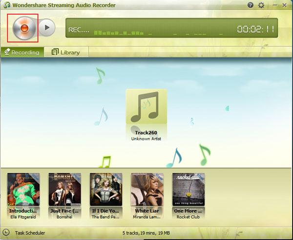 Ventana principal de Wondershare Streaming Audio Recorder