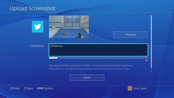PS4 upload screenshot Twitter
