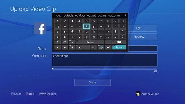 PS4 upload video clip onto Facebook