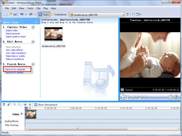 Umwandlung eines windows movie maker projektes zu avi