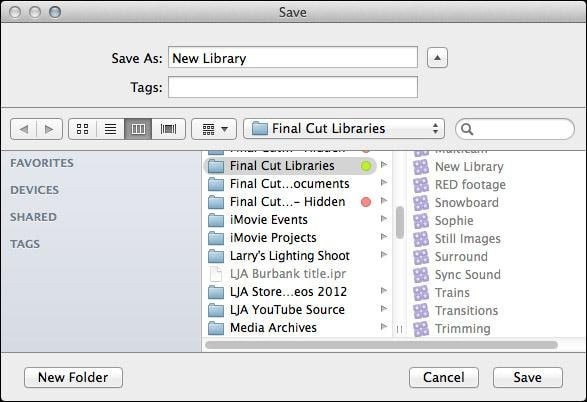 manage libraries in fcp