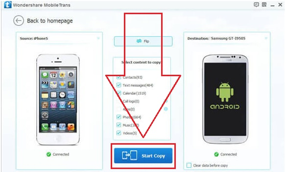 One click iphone to iphone transfer - step 4: Press Start Copy button to transfer contacts
