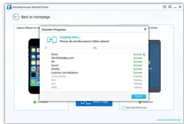 One click iphone to iphone transfer - step 5: trasnfer starts and the process will be finished automatically