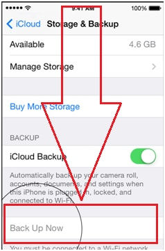 sync contacts from iphone to iPad with icloud -step 3: Tap the Back Up Now option