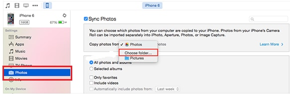 transfer photos from iPhoto to iPhone