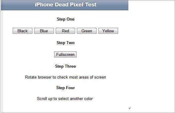 check display for dead pixels
