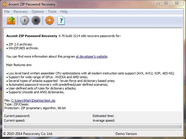 accentzip password recovery main
