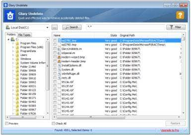 Free memory card recovery software: Glary Undelete