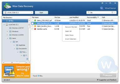 Free memory card recovery software: Wise data recovery